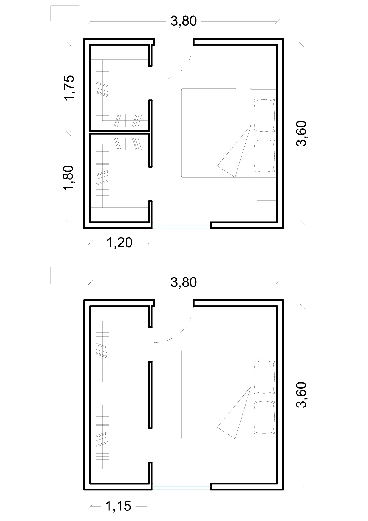 La cabina armadio dimensioni minime ed esempi ferdoge costruzioni - Camera da letto dimensioni ...
